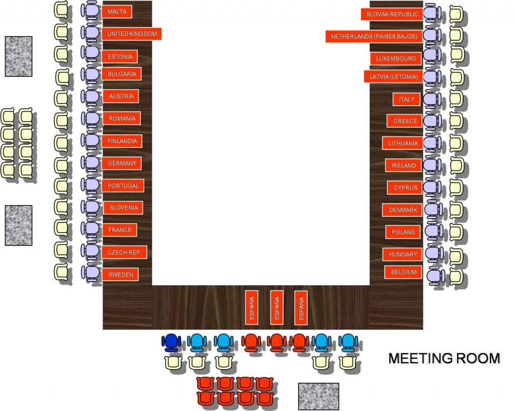 "Distribución de mesa en ""U"" para reunión de Presidencia Española"